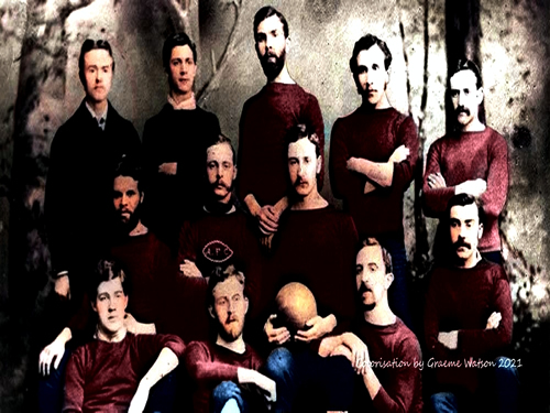 Aberdeen Football Club Team Photo 1881-82: Original B&W picture - No copyright - attached - Colorisation by Graeme Watson 2018.